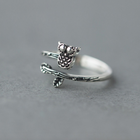 Owl On Branch Ring - 925 Sterling Silver - Owl J  - 1