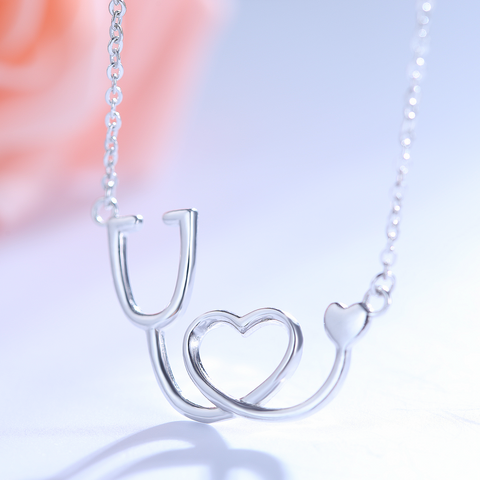 Sterling silver medical stethoscope heart pendant necklace 925 medical stethoscope heart pendant necklace 925 sterling silver owl j 1 aloadofball Images