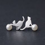 Palying Cat Earrings  - 925 Sterling Silver - Owl J  - 1