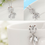 Goldfish Pendant Necklace - 925 Sterling Silver - Owl J  - 2