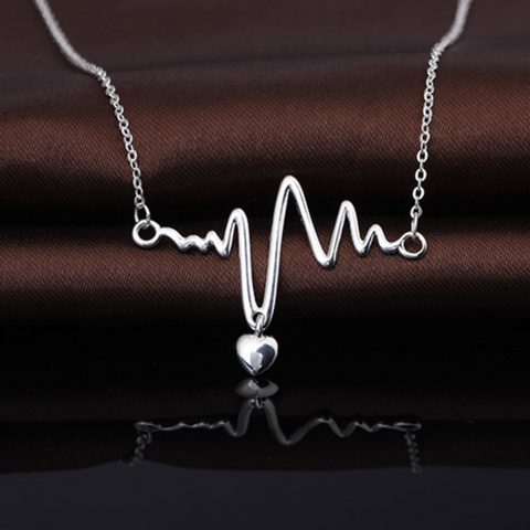 Heartbeat Lifeline Pulse Pendant Necklace  - 925 Sterling Silver - Owl J  - 1
