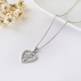 Heart Caduceus Necklace - 925 Sterling Silver - Owl J  - 5