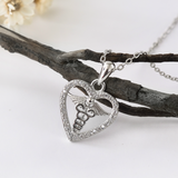 Heart Caduceus Necklace - 925 Sterling Silver - Owl J  - 3