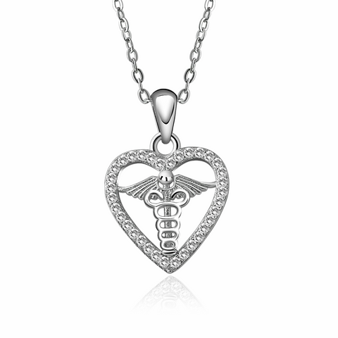 Heart Caduceus Necklace - 925 Sterling Silver - Owl J  - 1