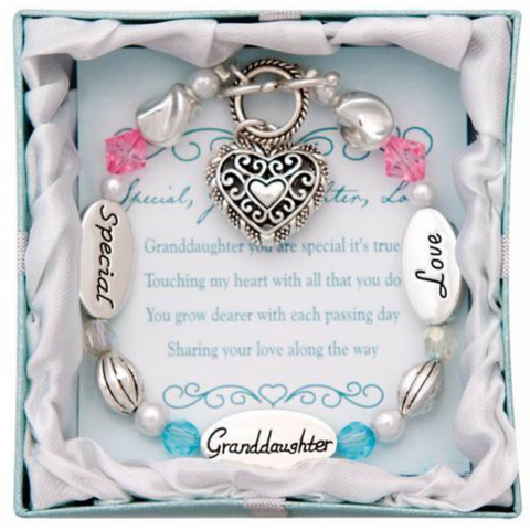Granddaughter Heart Charm Bracelet - Owl J