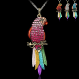 Retro Rhinestone Parrot Necklace - Owl J  - 1
