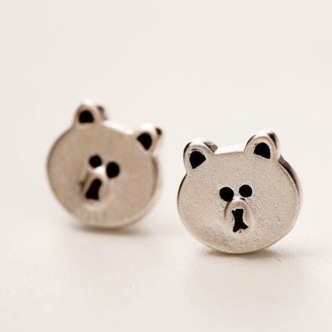 Funny Bear Earrings - 925 Sterling Silver - Owl J  - 1