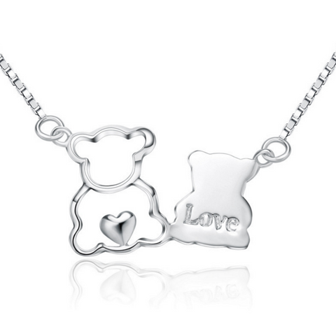 Bear Lovers Necklace - 925 Sterling Silver - Owl J  - 1