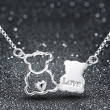 Bear Lovers Necklace - 925 Sterling Silver - Owl J  - 3