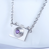 Dainty Camera Necklace  - 925 Sterling Silver - Owl J  - 3