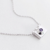 Dainty Camera Necklace  - 925 Sterling Silver - Owl J  - 7