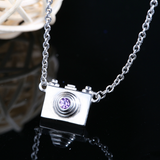 Dainty Camera Necklace  - 925 Sterling Silver - Owl J  - 5