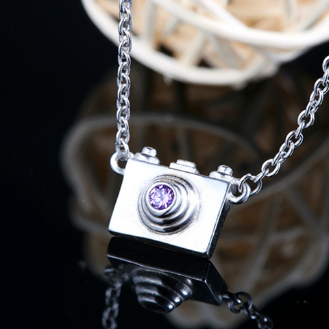 Dainty Camera Necklace  - 925 Sterling Silver - Owl J  - 1