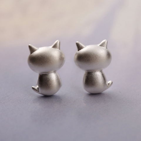 Funny Fat Cat Earrings - 925 Sterling Silver - Owl J  - 1