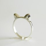 Kitty Cat Ears Ring - 925 Sterling Silver - Owl J  - 1