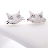 Cat Face Earrings - 925 Sterling Silver - Owl J  - 2
