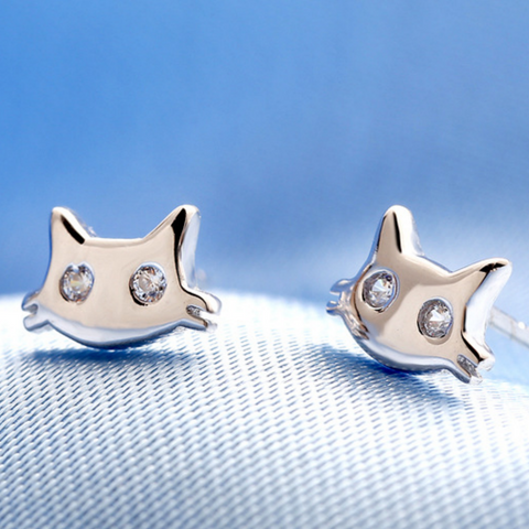 Cat Face Earrings - 925 Sterling Silver - Owl J  - 1