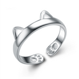 Cute Cat Paws Ring - 925 Sterling Silver - Owl J  - 3