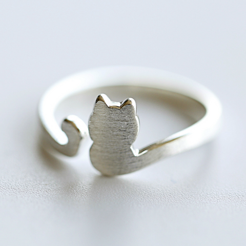 Lovely Cat Tail Ring - 925 Sterling Silver - Owl J  - 1