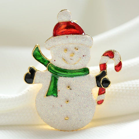 Gold Plated Christmas Snowman and Santa Brooches - Owl J  - 1