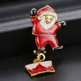 Gold Plated Christmas Snowman and Santa Brooches - Owl J  - 2