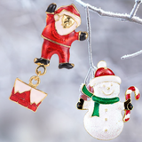 Gold Plated Christmas Snowman and Santa Brooches - Owl J  - 3