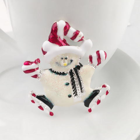 Christmas Snowman Brooch Pin - Owl J