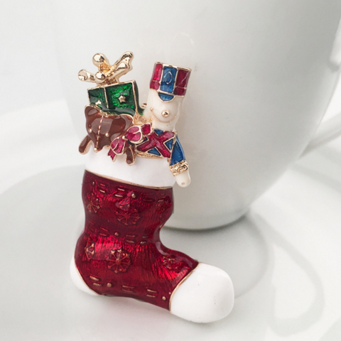 Christmas Sock Brooch Pin - Owl J