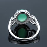 Green Chrysoprase Ring - 925 Sterling Silver - Owl J  - 4