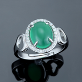Green Chrysoprase Ring - 925 Sterling Silver - Owl J  - 3