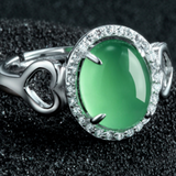 Green Chrysoprase Ring - 925 Sterling Silver - Owl J  - 2