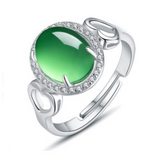 Green Chrysoprase Ring - 925 Sterling Silver - Owl J  - 1