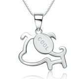 Cool Dog Necklace - 925 Sterling Silver - Owl J  - 1