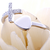 Heart Cross Ring -925 Sterling Silver - Owl J  - 5