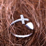Heart Cross Ring -925 Sterling Silver - Owl J  - 6