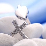 Heart Cross Ring -925 Sterling Silver - Owl J  - 4