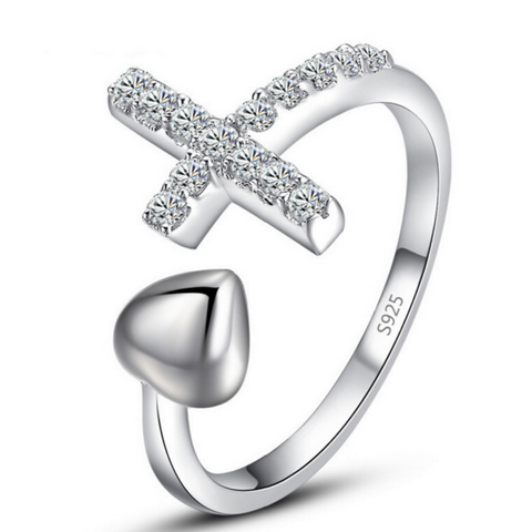 Heart Cross Ring -925 Sterling Silver - Owl J  - 1