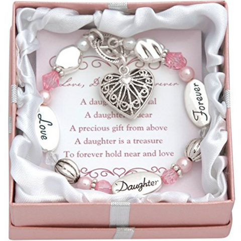 Daughter Heart Charm Bracelet - Owl J