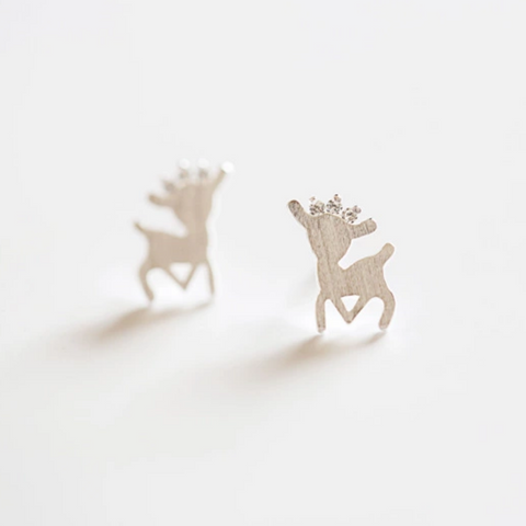 Deer Princess Earrings - 925 Sterling Silver - Owl J  - 1