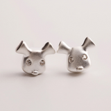 Happy Dog Earrings - 925 Sterling Silver - Owl J  - 1