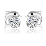 Playful Dolphins Earrings  - 925 Sterling Silver - Owl J  - 1