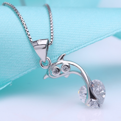 Jumping Dolphin Necklace  - 925 Sterling Silver - Owl J  - 1