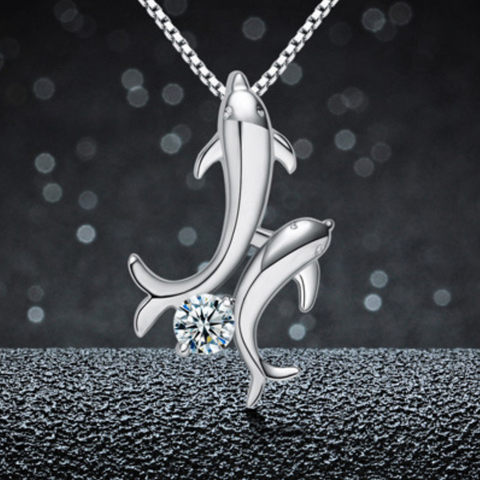 Dolphin Lovers Necklace - 925 Sterling Silver - Owl J  - 1
