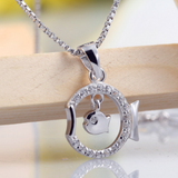 Double Fish Pendant Necklace  - 925 Sterling Silver - Owl J  - 2