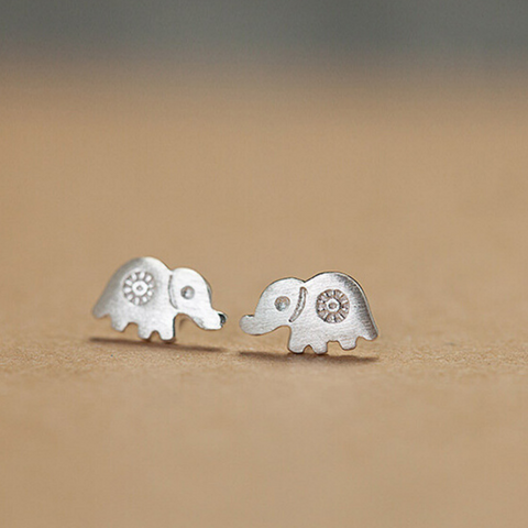 Silver Elephant Earrings  - 925 Sterling Silver - Owl J  - 1