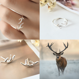 Lucky Antler Ring - 925 Sterling Silver - Owl J  - 4