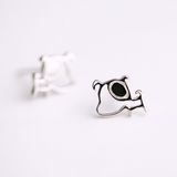 Funny Dog Stud Earrings  - 925 Sterling Silver - Owl J  - 3