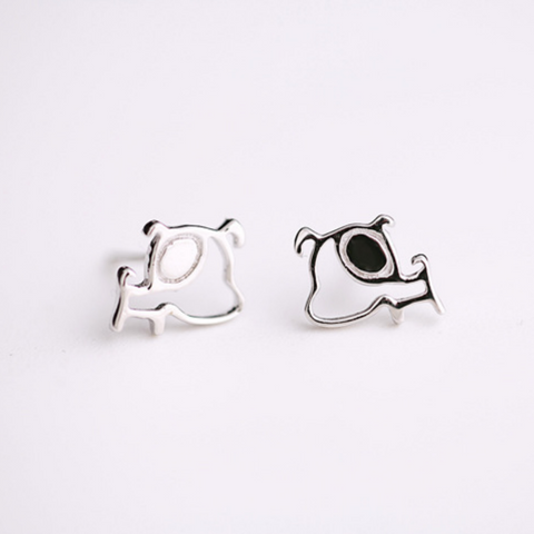 Funny Dog Stud Earrings  - 925 Sterling Silver - Owl J  - 1