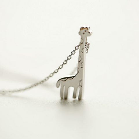 Lovely Giraffe Necklace - 925 Sterling Silver - Owl J  - 1