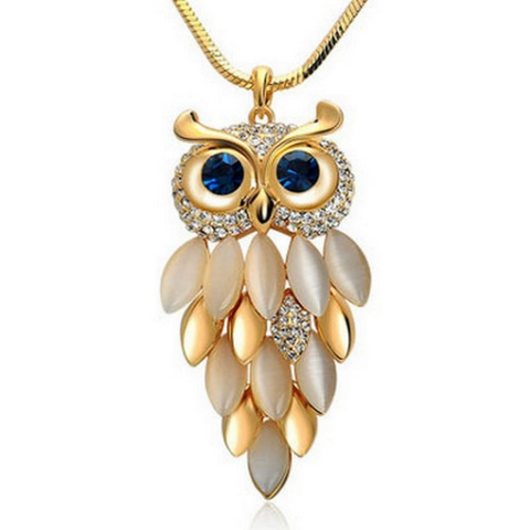 Crystal Leaf Owl Necklace - Owl J  - 1